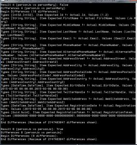 NBuilder i Compare .Net Objects - Wynik działania Compare .Net Objects